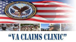 Picture of American Flag and VA Claims Clinic written as text